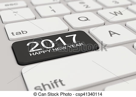 Clipart of 3d - keyboard - 2017 - happy new year - black - 3d ... png free library