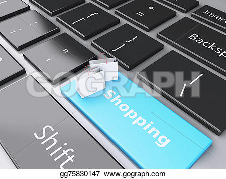 3d keyboard computer clipart png free library Drawing - 3d shopping bag on computer keyboard. online shopping ... png free library