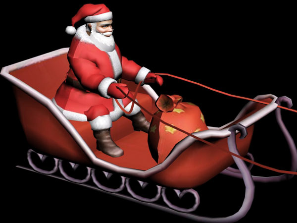 Santa Claus sleigh clipart, (.3ds) 3D Studio Max software, Life Forms svg royalty free