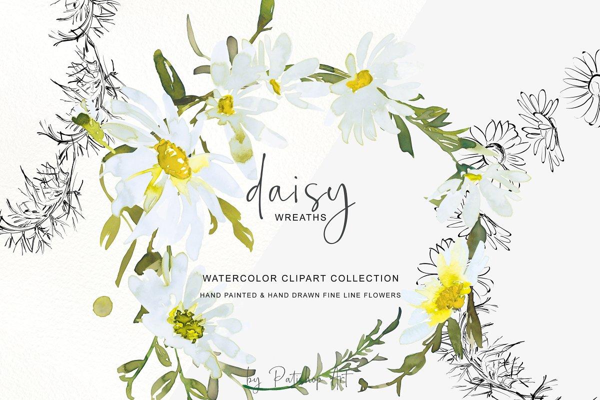 3d paint daisy clipart clip art transparent library Watercolor Daisy Wreath Clip Art ~ Illustrations ~ Creative Market clip art transparent library