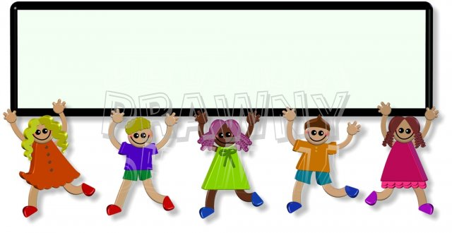 d happy banner. 3d people clipart border