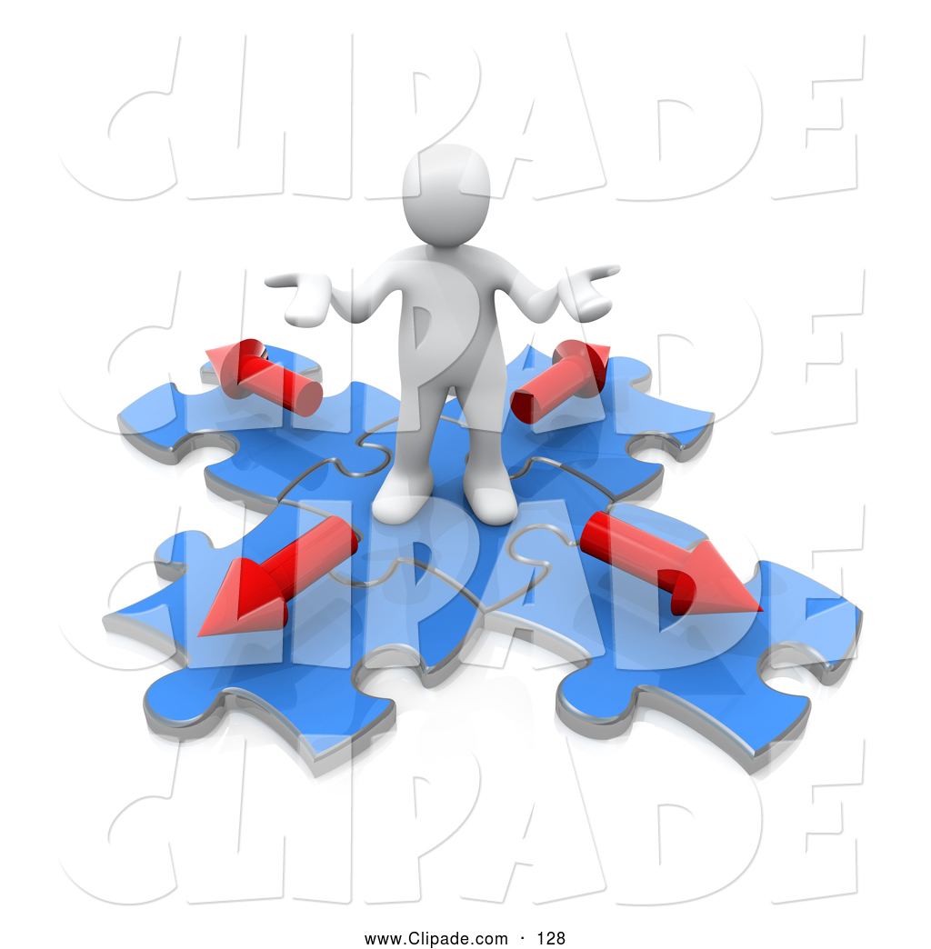 3d person clipart puzzle clip art black and white download Clip Art of a Cute 3d White Person Shrugging on Blue Puzzle Pieces ... clip art black and white download