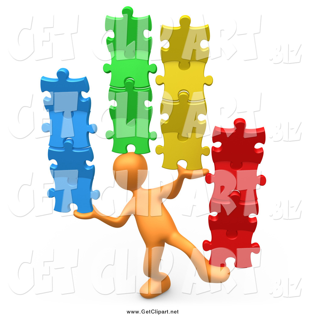 3d person clipart puzzle graphic royalty free stock Clip Art of a 3d Orange Person Balancing Colorful Stacked Puzzle ... graphic royalty free stock