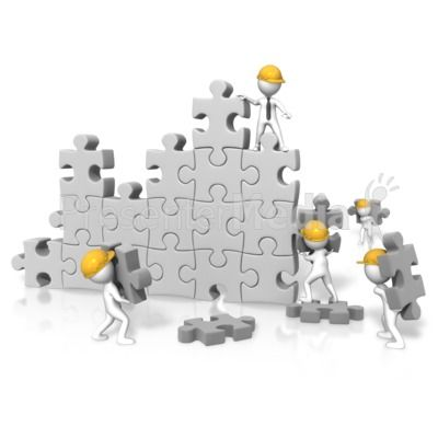 3d person clipart puzzle jpg royalty free stock An image of a large puzzle wall with figures working on building it ... jpg royalty free stock