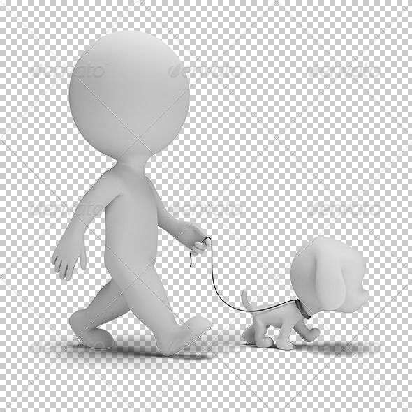 3d person walking clipart png free stock 3d small man walking a little puppy. 3d image. Transparent high ... png free stock