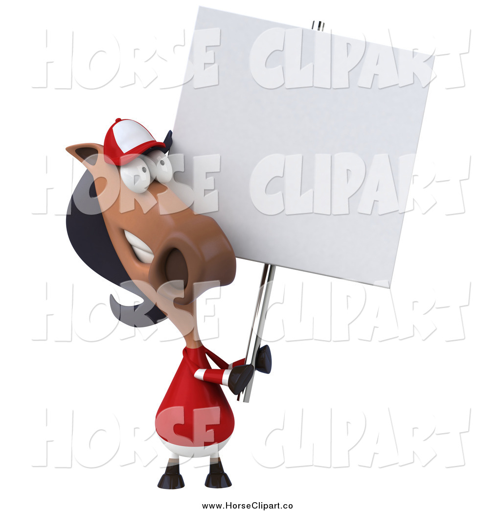 3d polo clipart jpg library library Clip Art of a 3d Polo Horse Holding a Sign by Julos - #517 jpg library library