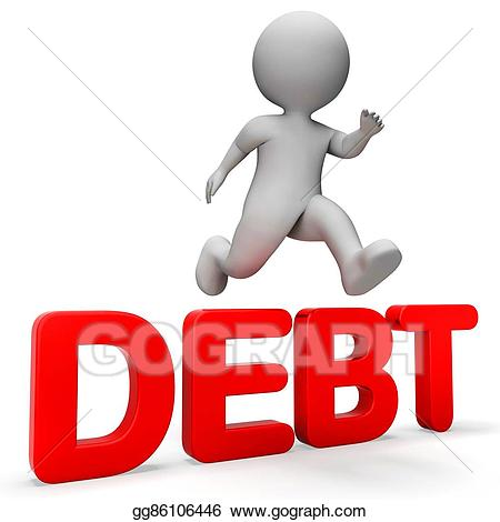 3d render clipart black and white Stock Illustration - Debt overcome means render achievement and ... black and white