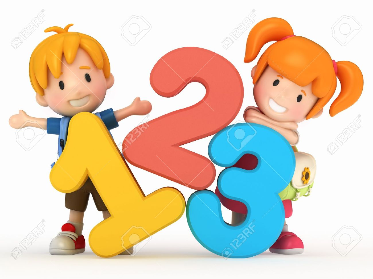 Kids learning numbers clipart