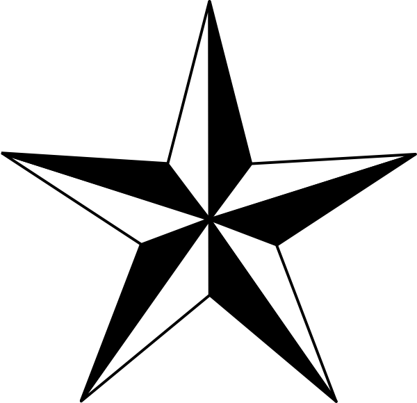 Clipart to put on a 5 point christmas star clip art black and white library Black Nautical Star clip art - vector clip art online, royalty ... clip art black and white library