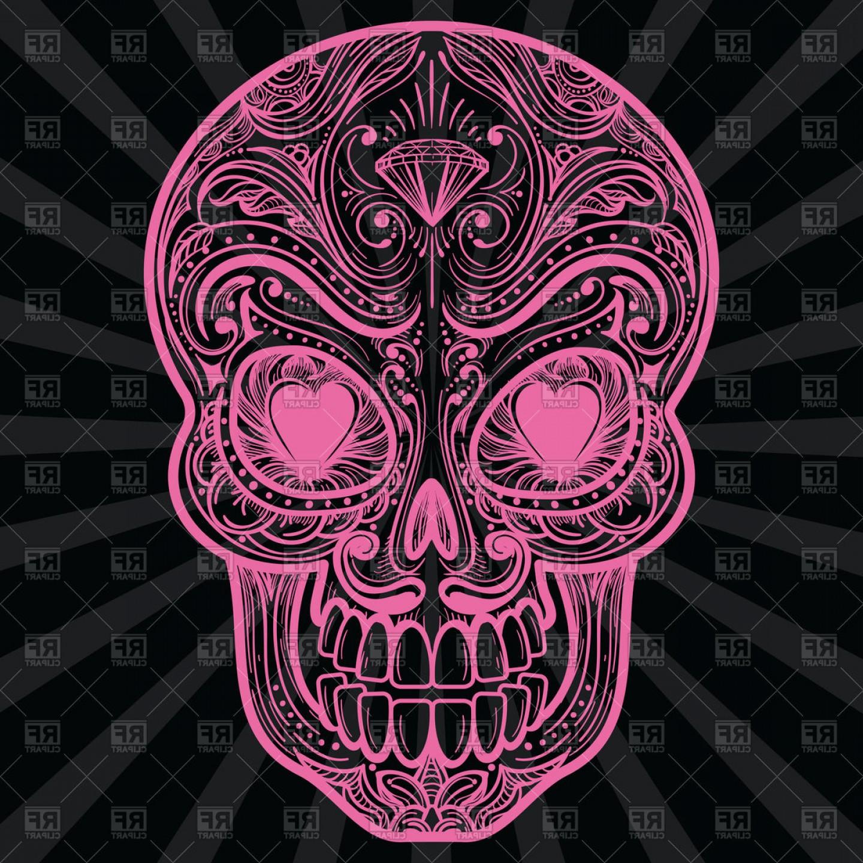 3d sugar skull clipart png free stock Pink Mexican Sugar Skull Tattoo Vector Clipart | HandandBeak png free stock