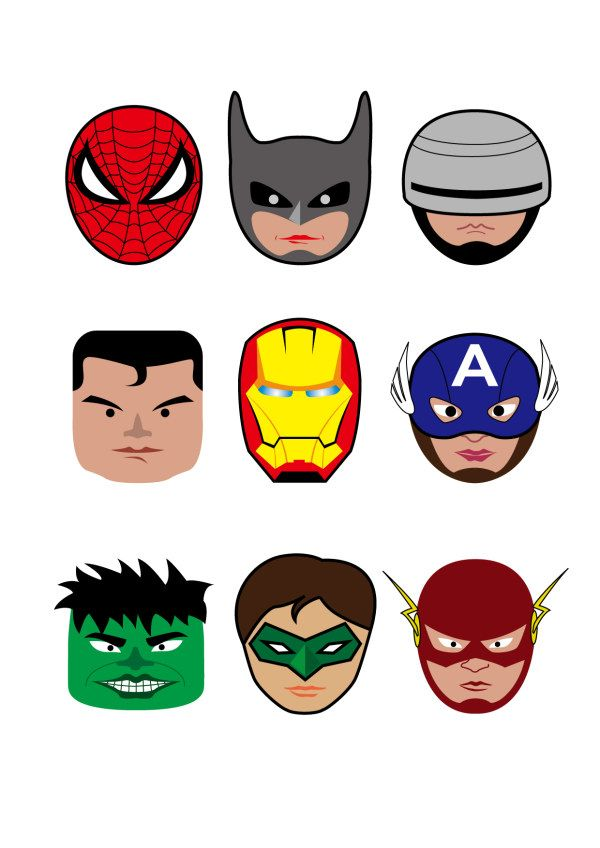 3d superhero toon clipart graphic library library Cartoon superheroes head portrait vector - Vector Cartoon free ... graphic library library