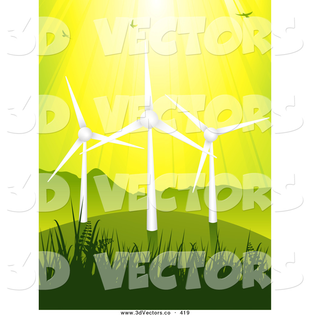 3d wind turbine clipart svg transparent stock 3d Vector Clipart of a Birds Flying in Sunshine Above Three Eco ... svg transparent stock