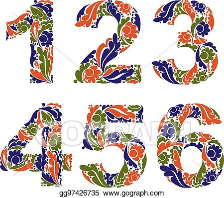 Vintage numbers clipart picture free stock Vector Art - Beautiful floral numbers, decorative digits with ... picture free stock