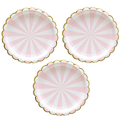4 7 inch circle clipart banner freeuse library Disposable Party Paper Plates Stripe Dessert Plates 7-Inch for a Tea Party,  Picnic or Birthday, Pack of 24 (7 in, Pink) banner freeuse library