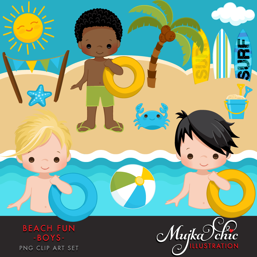 4 boys standing clipart png transparent Beach Fun Clipart for Boys | Mygrafico Illustrations & Cliparts ... png transparent