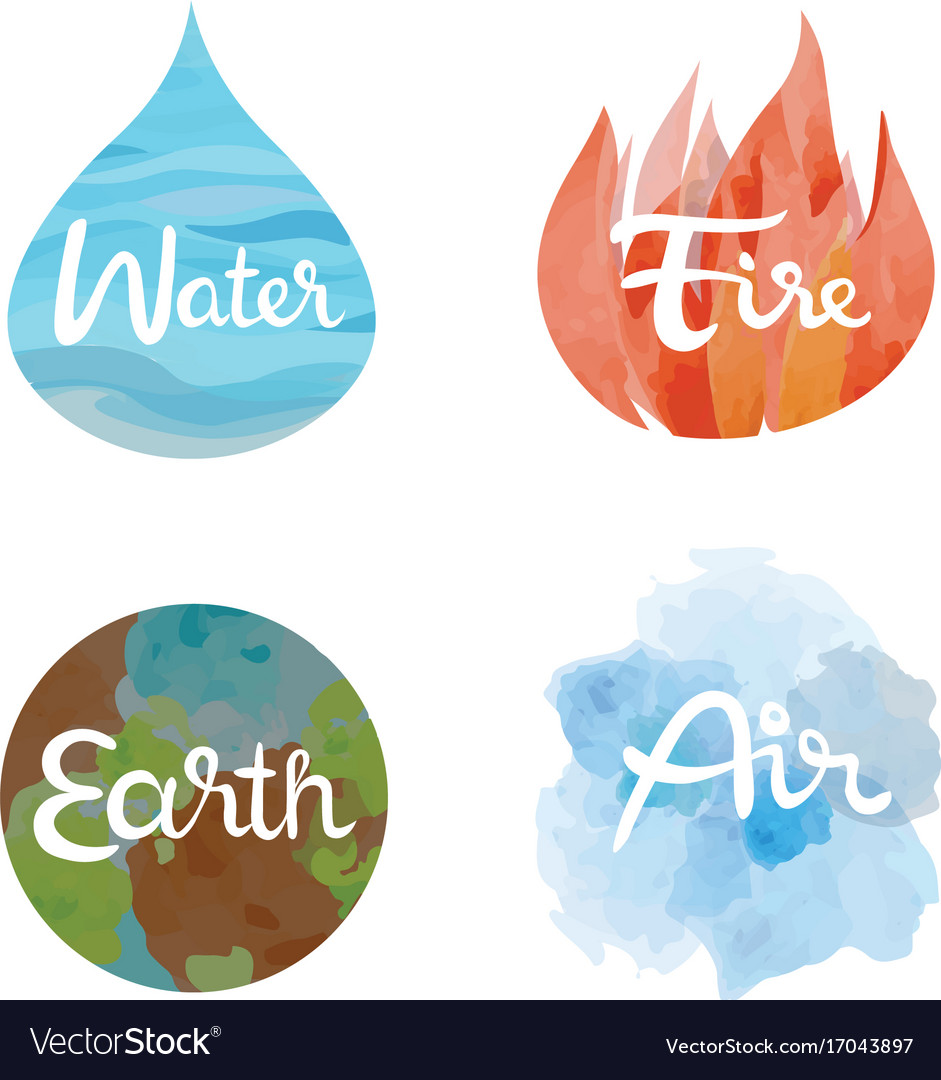 4 elements clipart free vector stock Set of the four nature elements icons vector stock