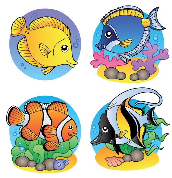 4 fishes clipart jpg royalty free Cute Cartoony Fish Vectors (94585) Free EPS Download / 4 Vector jpg royalty free