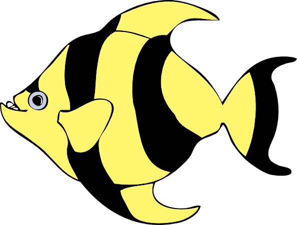 4 fishes clipart banner black and white download Striped Tropical Fish Clip Art at Clker.com - vector clip art online ... banner black and white download