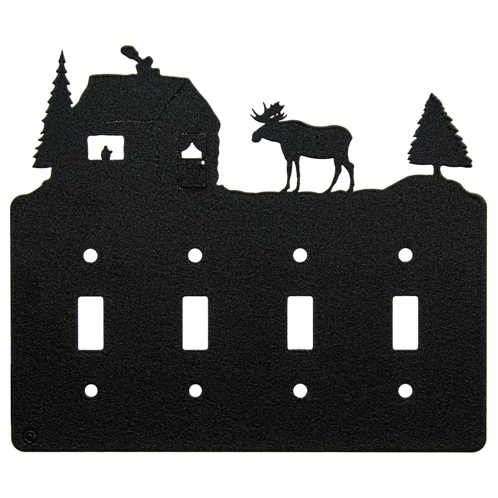 4 gang light switch clipart png royalty free download Moose & Cabin Quadruple 4-Gang Toggle Light Switch Plate-Cover png royalty free download