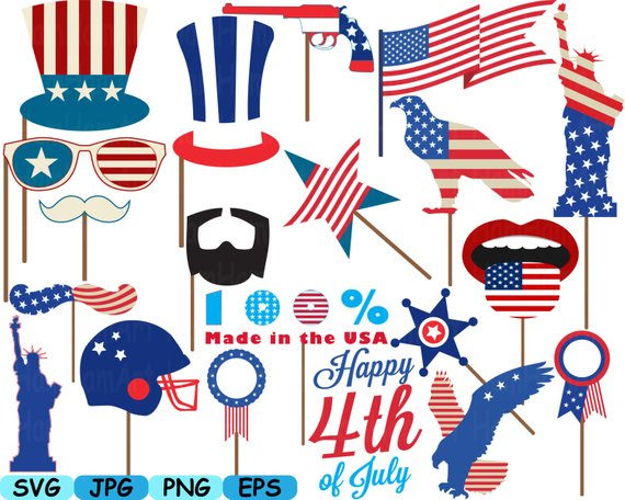 4 of july clipart silhoute jpg freeuse 4th of July Party Photo Booth Prop Silhouette Cameo Cutting Files ... jpg freeuse
