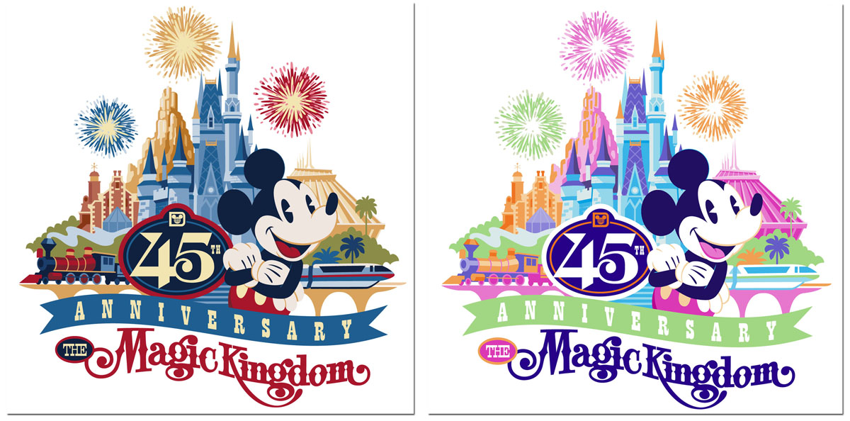 First Look at Magic Kingdom 45th Anniversary Merchandise Artwork ... graphic black and white