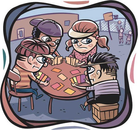 4 people playing cards clipart vector download Stock Illustration - A group of kids playing poker and two kids ... vector download