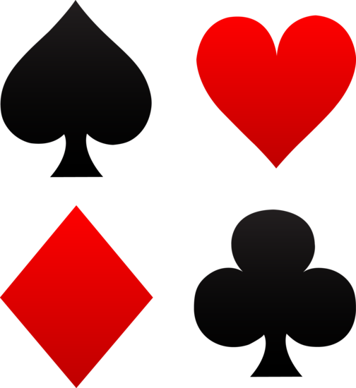4 people playing cards clipart graphic transparent library Free clip art of red and black playing card suits - spades, hearts ... graphic transparent library