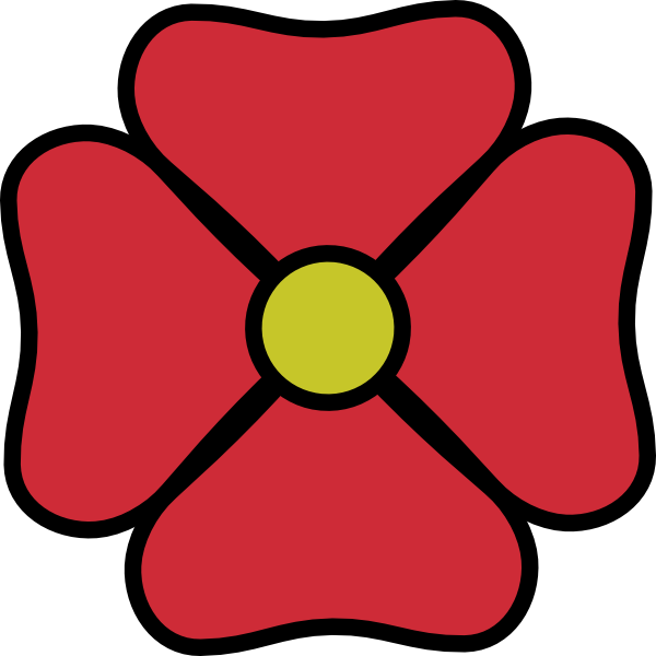 4 petal flower clipart