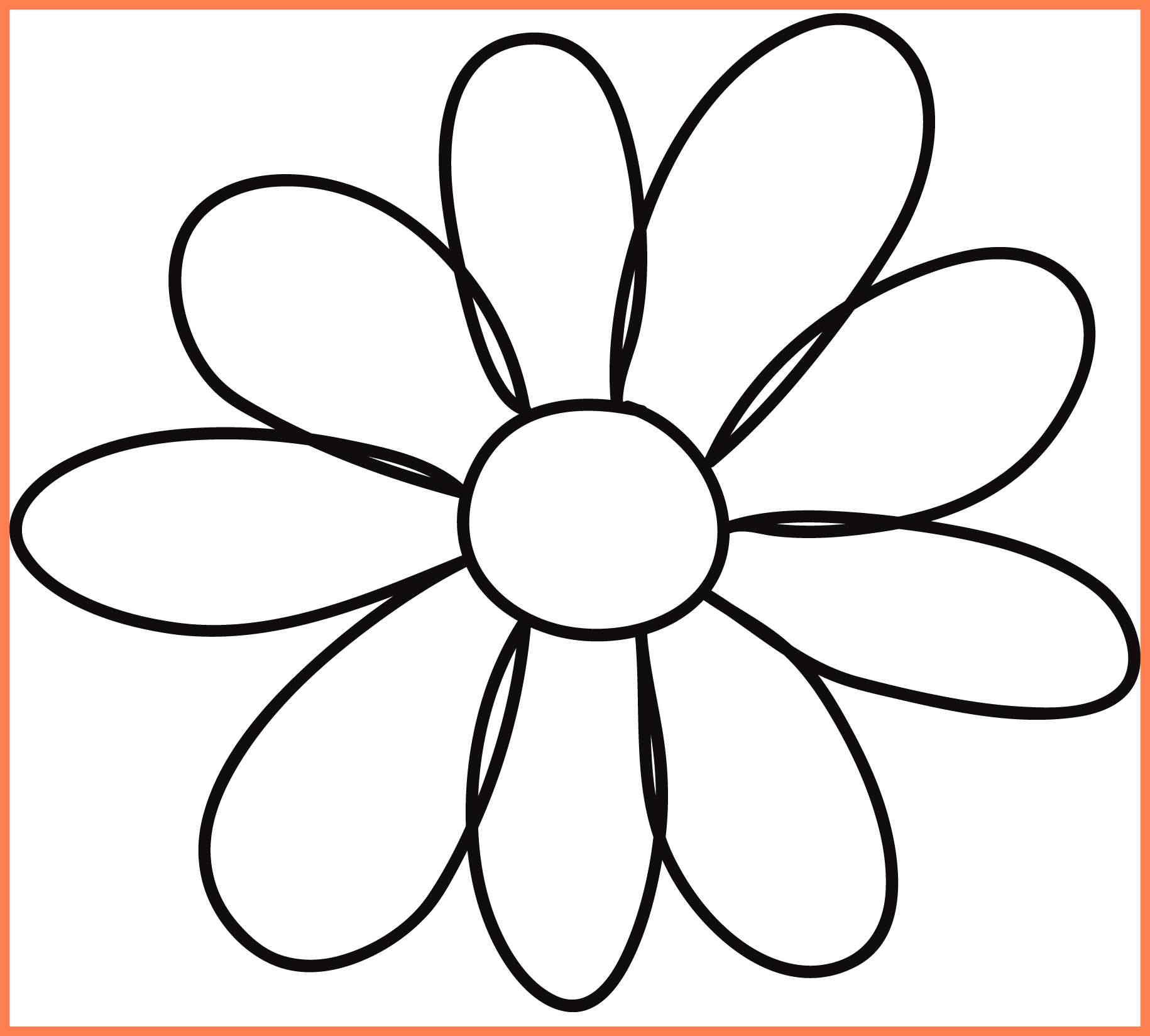 Sun clipart outline vector free stock Best Petal Flower Template Clipart Quilting Picture For Sunflower ... vector free stock