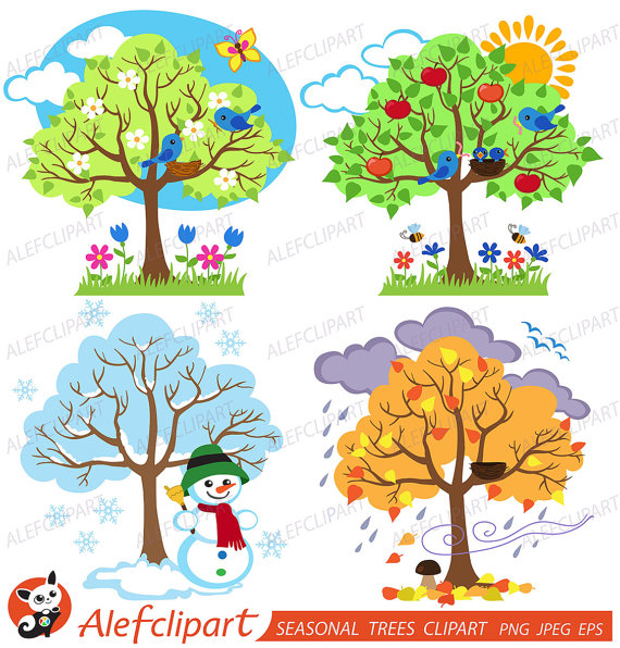 4 seasons images clipart image library library Four Seasons Trees Clipart Seasonal Trees and Birds Clipart Clip Art ... image library library