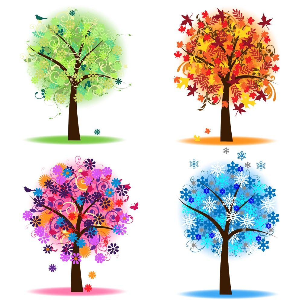 4 seasons images clipart vector download Four Seasons Trees Clipart Clip Art, Spring Summer Winter Fall ... vector download