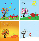 4 season clipart 3 » Clipart Station clipart black and white download