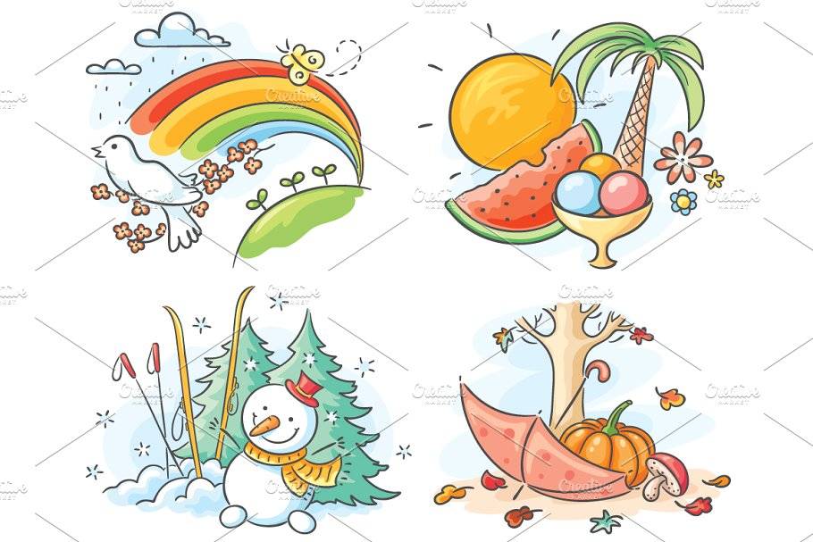 4 seasons clipart with words image black and white stock The four seasons in cartoon pictures image black and white stock
