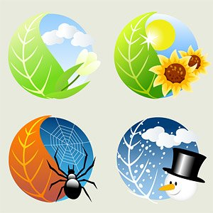 4 seasons icons clipart