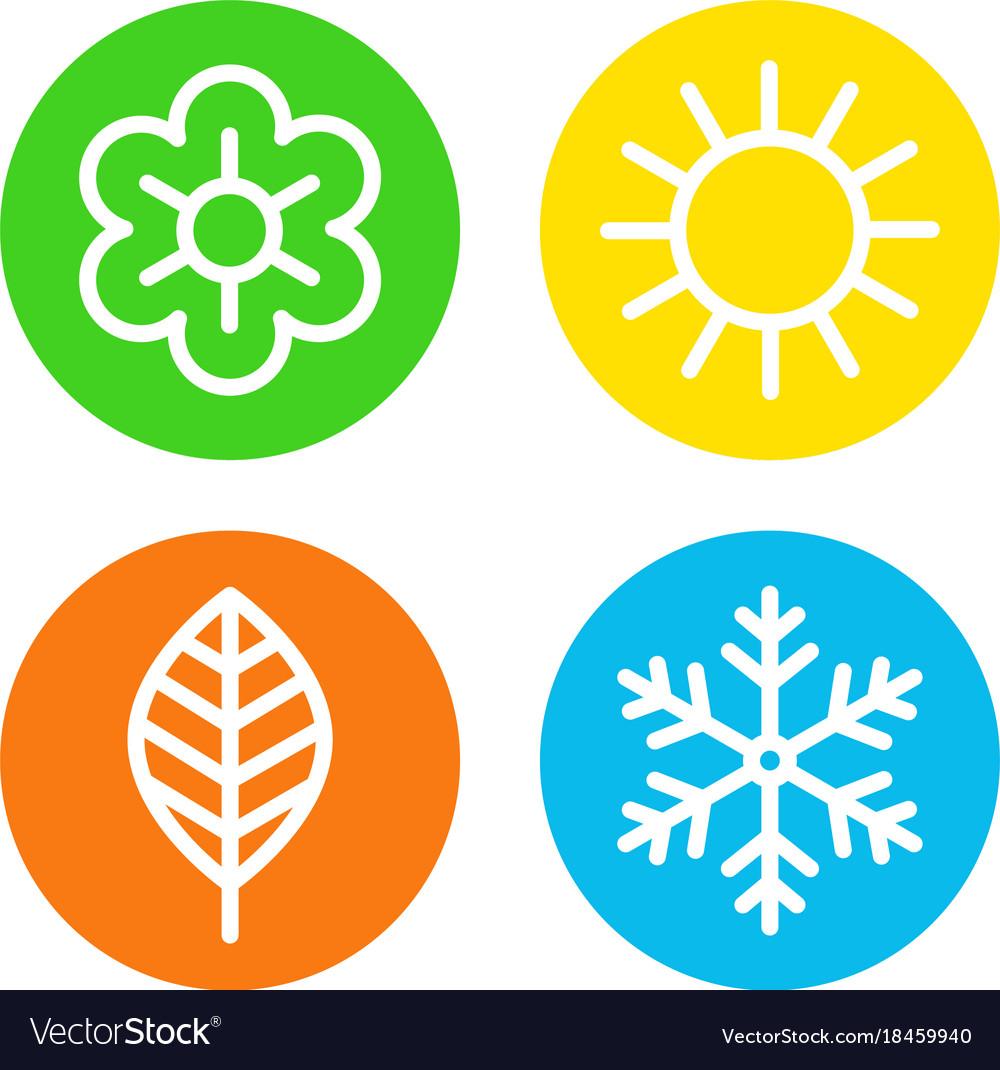 4 seasons icons clipart graphic stock Four seasons logo set graphic stock