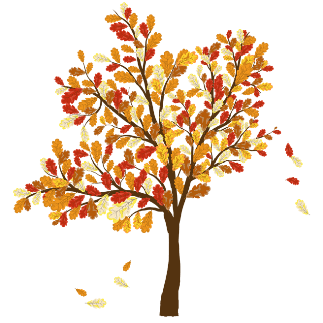 Fall thanksgiving clipart autumn picture black and white library Colorful Clip Art For The Fall Season: Tree With Falling Leaves ... picture black and white library
