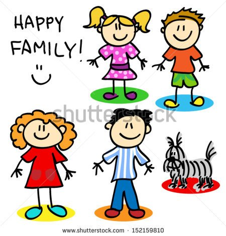 4 siblings clipart 3 boys 1 girl.  with girls and