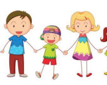 4 siblings clipart 3 boys 1 girl.  brothers clip art