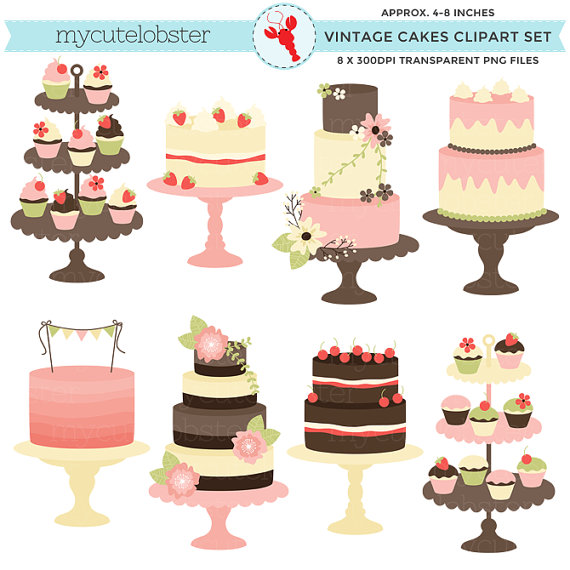 4 tiered cake clipart picture library Classic Vintage Cakes Clipart Set - clip art, rustic cake, wedding ... picture library