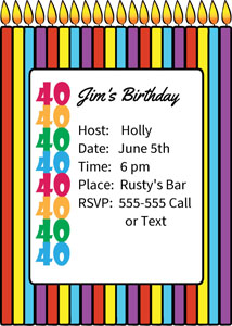 40th birthday clipart borders jpg library download 40th Birthday Invitation Ideas jpg library download