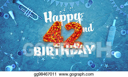 Drawing - Happy 42nd birthday card with beautiful details. Clipart ... picture black and white stock