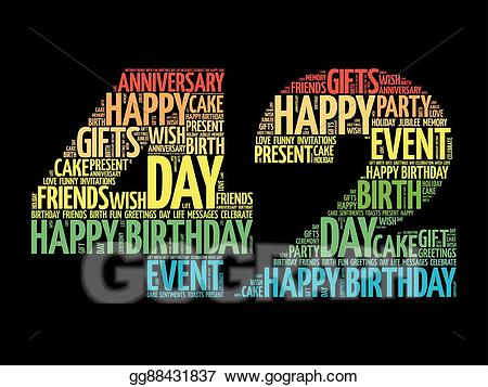 Vector Stock - Happy 42nd birthday word cloud. Stock Clip Art ... png free download