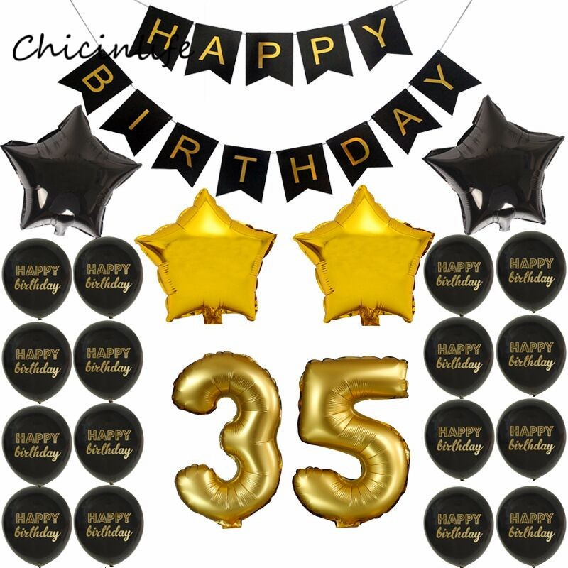 45 year old clipart black and white download Chicinlife Gold Black Color Theme Adult 35 45 55 65 70 75 80 85 90 Years  old Birthday Party Decoration Happy Birthday Banner Color 1 black and white download