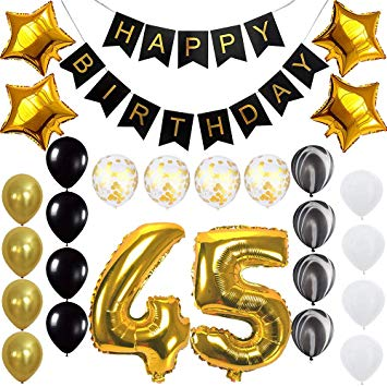45 years clipart clip library download Happy 45th Birthday Banner Balloons Set for 45 Years Old Birthday Party  Decoration Supplies Gold Black clip library download