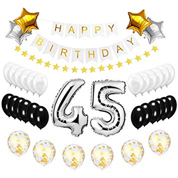 45 year old clipart jpg freeuse library Best Happy to 45th Birthday Balloons Set - High Quality Birthday Theme  Decorations for 45 Years Old... jpg freeuse library