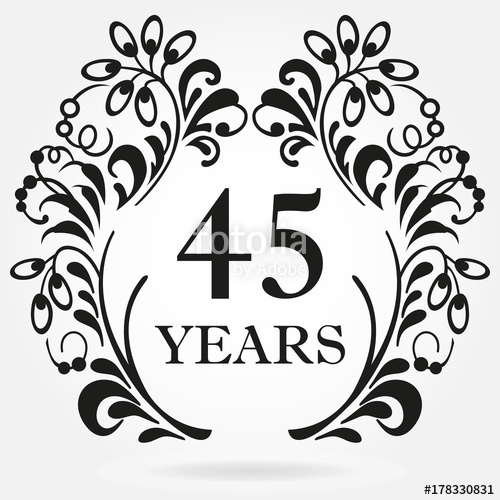 45 years clipart image freeuse 45 years anniversary icon in ornate frame with floral elements ... image freeuse