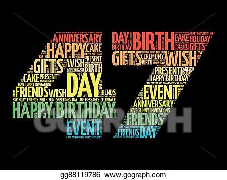 47th anniversary clipart jpg royalty free Vector Stock - Happy 47th birthday word cloud. Clipart Illustration ... jpg royalty free