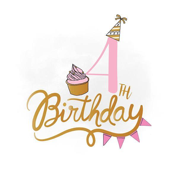 4th birthday clipart clip art freeuse 4th Birthday SVG clipart, baby girl Birthday Quote ,Birthday ... clip art freeuse