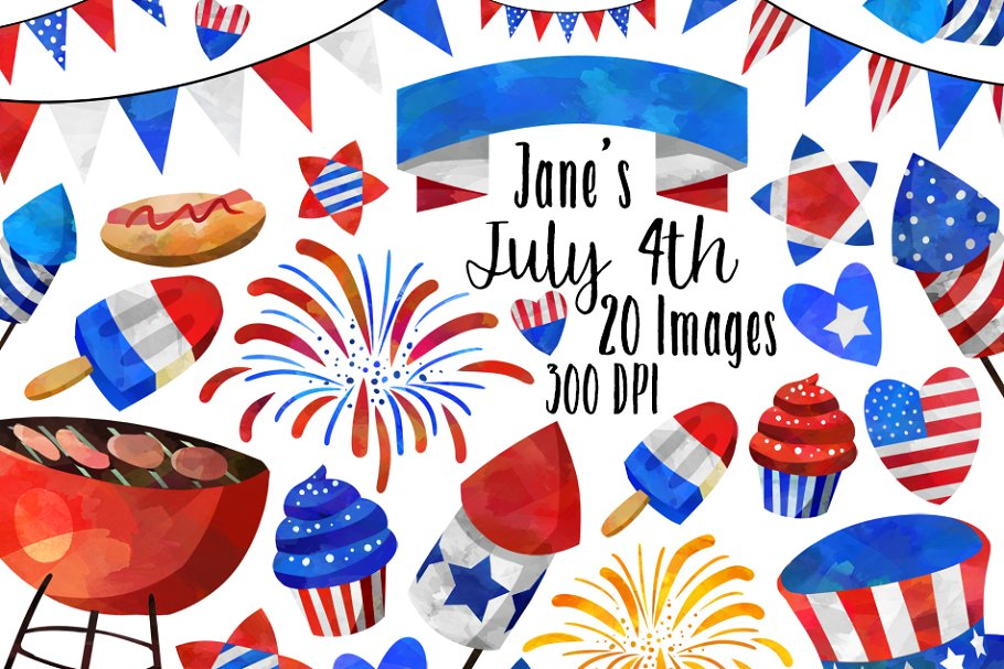 4th of july clipart watercolor image royalty free Watercolor July 4th Clipart image royalty free