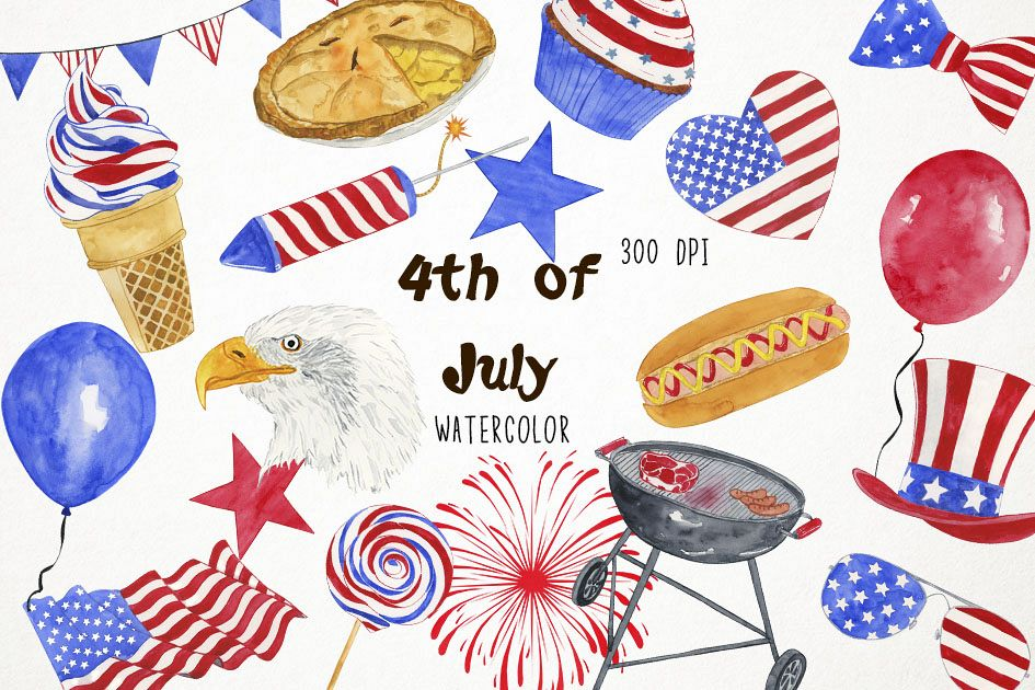 4th of july clipart watercolor clip art library stock Watercolor 4th of July, 4th of July Clip Art, America clip art library stock